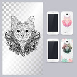 Black and white animal dog head. Vector illustration for phone case. Black and white animal dog head, boho style, abstract art, tattoo, doodle sketch. Yorkshire Stock Photo