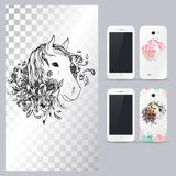 Black and white animal horse head. Vector illustration for phone case. Royalty Free Stock Image