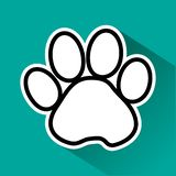 Black and white animal paw track on green background. Vector illustration royalty free illustration