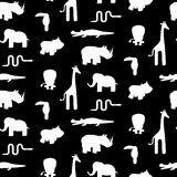 Black and white animal silhouettes seamless pattern vector. Stock Image