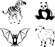 Black and White Animals. Collection of animals in outline style Stock Photos
