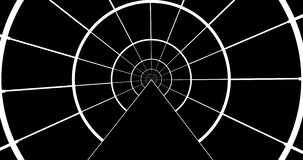 Black and white animate of circle tunnel footage 4k clip