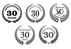 Black and white anniversary laurel wreaths vector illustration