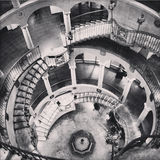 Black and white antique rotundra staircase at Mission Inn Riverside California Stock Photos