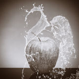 Black and white apple splashed by water on a black and white background Stock Photos
