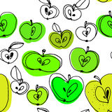 Black and white apples seamless pattern with color spots. Hand drawn apples seamless pattern Stock Illustration