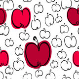 Black and white apples seamless pattern with color spots. Hand drawn apples seamless pattern royalty free illustration
