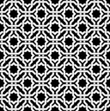 Black and white arabic geometric seamless pattern, vector. stock image