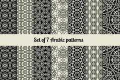 Black and white arabic style patterns Stock Images