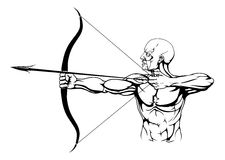 Black and white archer illustration Royalty Free Stock Images