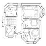 Architectural plan of a house. Layout of the apartment with the furniture in the drawing view. Black and White architectural plan of a house. Layout of the stock illustration