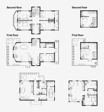 Black and White architectural plans Royalty Free Stock Photography