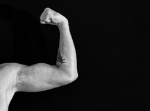 Black and white arm on black background royalty free stock image