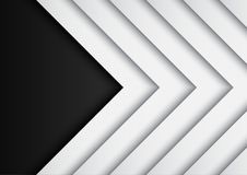 Black and white arrows on black background with paper art style Royalty Free Stock Image