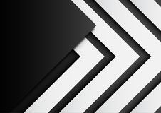 03.Black and white arrows on black background with paper art sty Stock Photo