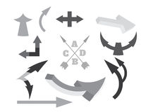 Black white arrows set. Arrows set black and white Stock Photography