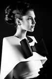Black and white. Art fashion photo of a gorgeous woman in paper dress. Black and white Stock Photos