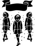 Black and white art with irish dancers silhouettes stock photography