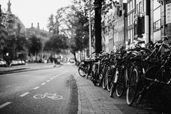 Black and white art monochrome photography. A beautiful European city. Euro-trip. A stroll through the streets of Amsterdam. Black and white art monochrome Stock Images