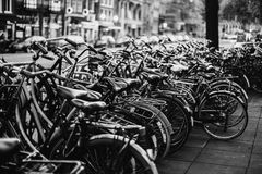 Black and white art monochrome photography. A beautiful European city. Euro-trip. A stroll through the streets of Amsterdam. Black and white art monochrome Stock Image