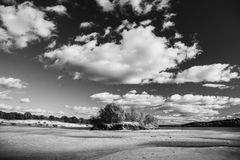 Black and white art monochrome photography. Beautiful summer landscape. Black and white art monochrome photography Stock Photography