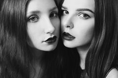 Artistic black and white photography. Two beautiful girls Stock Images