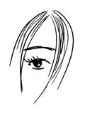 Black and white artistic vector girl's face Stock Photos