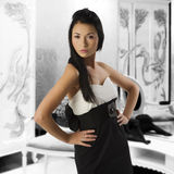 Black and white asian girl Stock Photo