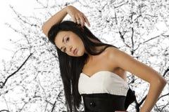 Black and white asian girl Royalty Free Stock Photos