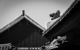 Black and white asian palace roof detail. Black and White roof detail in the King's palace, Seoul Stock Images
