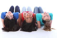 Black white and asian teenage girls having fun Stock Images