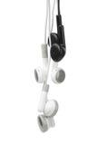 Black and White Audio Earphones stock photos