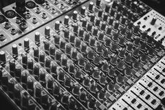 Black and White Audio Mixer Royalty Free Stock Images