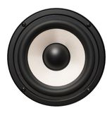 Audio speaker isolated on white background. Black and white audio speaker isolated on white background Royalty Free Stock Photos