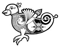 Black and white authentic celtic bird. Ethnic vector illustration Royalty Free Stock Images
