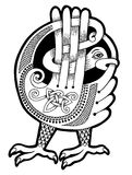 Black and white authentic celtic bird. Ethnic vector illustration Royalty Free Stock Image