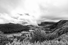 Black and White Azores View. Black and White view of Pastures near Sete Cidades in Sao Miguel, Portugal stock photos