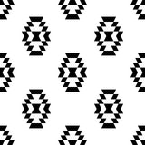 Black and white aztec ornament geometric ethnic seamless pattern,  Stock Image