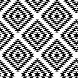 Black and white aztec ornaments geometric ethnic seamless pattern, vector Royalty Free Stock Photo