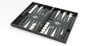 Black and white backgammon board. 3d illustration. Black and white backgammon board on white background. 3d illustration Royalty Free Stock Photo