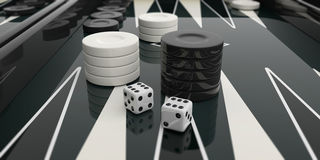 Black and white backgammon board. 3d illustration Stock Image
