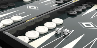 Black and white backgammon board. 3d illustration Royalty Free Stock Images