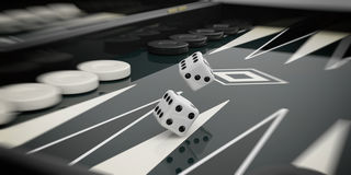 Black and white backgammon board. 3d illustration Royalty Free Stock Photos