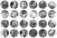 Black and white background, based on handdrawn ink circles, hand made in freehand style, laconic, imperfect, on textured watercolo royalty free illustration