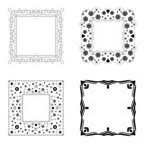 Black and white background, border or frame collection. Black and white border or frame collection with stars, hearts and doodle style pattern vector illustration