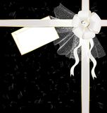 black-white background with a bow and notes Royalty Free Stock Images