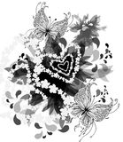 Black and white background with butterflies. Vector graphic image with stylized fantastic black and white background with flowers, heart and butterflies Royalty Free Stock Images