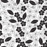 Seamless pattern with cherry blossom. Black and white  background. Monochrome floral illustration. Royalty Free Stock Image