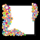 Black and white background with colorful dots. Black and white background or frame with colorful dots royalty free illustration