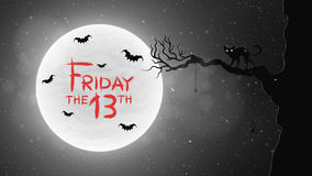 Black and white Background for Friday 13 in retro style. A black cat walks through the tree. Bats fly against the. Background of the full moon. Bloody text in Royalty Free Stock Photo
